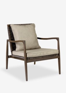 Sebago wood arm chair with rattan weave back(29X33X34)