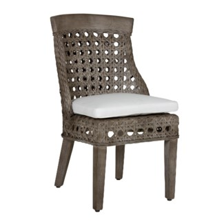Sahara side chair w/ wood accent - Grey Wash (22x25.5x37)