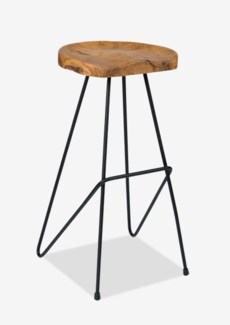 (SP) sallie teak barstool with metal legs..(16X16.5X30)..