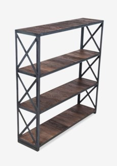 "(LS) Sydney 47"" tall bookcase w/ vintage wood shelves and metal frame-exotic wood-vintage..(47X12X48"