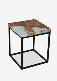 Uptown Icy Wood Square Side Table with Wrought Iron Leg. 16,5x16,5x19,5