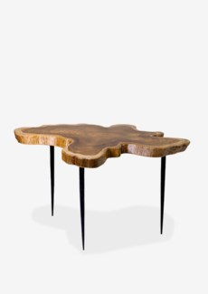 Teakwood freeform top table with metal pin base - Large (23.6x23.6x16)