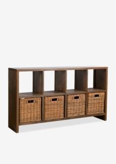 "(SP) Thomas 61"" Console Bookcase w/ 4 Rattan Drawers..(61X14X35.5).."