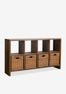 "(LS) Thomas 61"" Console Bookcase w/ 4 Rattan Drawers..(61X14X35.5).."