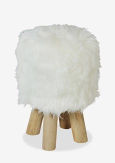 (SP) Tibetan Faux Fur Stool White with Wood Leg. 15x15x16