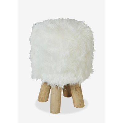 Excellent Sp Tibetan Faux Fur Stool White With Wood Leg 15X15X16 Cjindustries Chair Design For Home Cjindustriesco