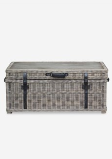 Kubu Trunk Coffee Table with Buckles and Leather Accents(47x25.5x22)