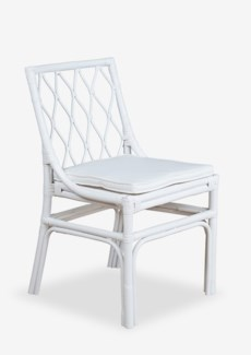 Brighton rattan Side Chair W/Loose Cushion-White (20X22X33)
