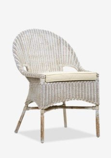 Daphnie Slipper Rattan Arm Chair-White Aged Finish (24X25X35)