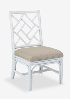 Lenea Chippendale white rattan side chair cream taupe cushion(21X25X38.5)