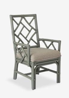 Lenea Chippendale grey rattan arm chair grey taupe cushion(22.5X25X38.5)