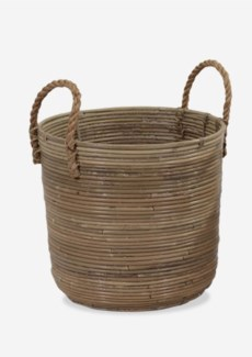 (SP) Round Basket Storage Large Size with Jute Handle Kubu Grey (15X14X18)