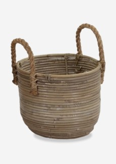 Round Basket Storage Small Size with Jute Handle Kubu Grey (11X9X12)