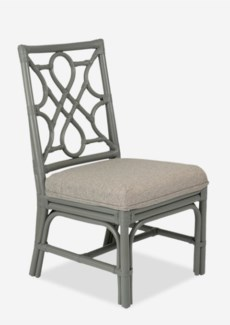 Megan Chippendale Grey rattan side chair grey taupe cushion(21X25X38.5)