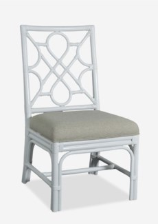 Megan Chippendale white rattan side chair cream taupe cushion(21X25X38.5)