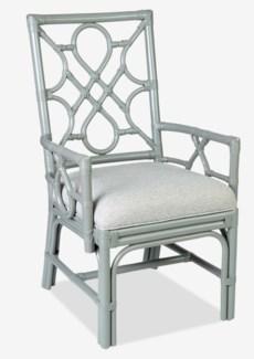 Megan Chippendale Grey rattan arm chair cream taupe cushion..(22.5X25X38.5)..