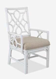 Megan Chippendale white rattan arm chair cream taupe cushion(22.5X25X38.5)