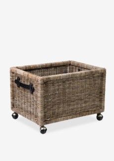 (SP) Rectangle Rattan Basket With Castor..(24x18x16.5)....