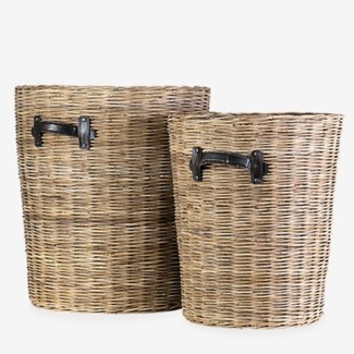 Rana Rattan Round Basket Set of 2(18x18X20.5;15x15X16)