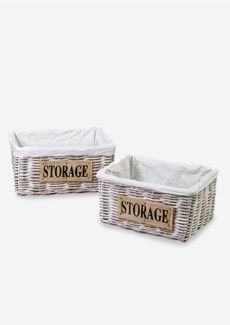 (LS) Storage Basket Kubu White Wash with cotton liner and jute text