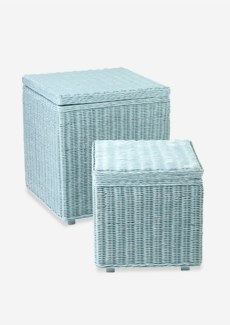 (LS) Square Storage set of 2 in Blue Edged..
