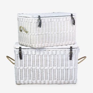 Trunk Core Rattan White Solid with Rope Handle and Jute Text-set of 2