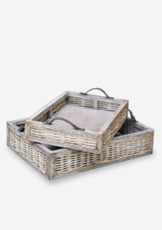 (LS) Vintage Rattan Wood Tray Set-2