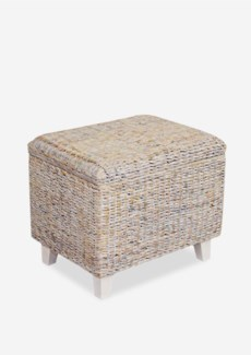 (LS) Woven Ottoman with Storage-White Wash..(24X18X20)..