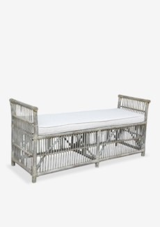 Winston Double Bench With Linen Fabric-Vintage Grey Frame Color(62X18X22)