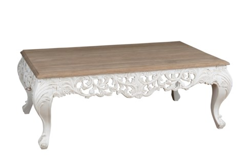 (LS) Baroque Carving Solid Wood Coffee table.. (K/D) (53x33x20)....