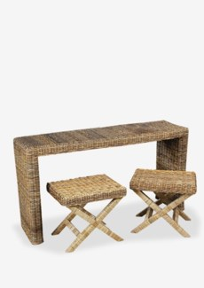 (LS) Driftwood Rattan Console and X-Stool /2 pcs (59x16.5x32)***Same as Item DF-SL305***