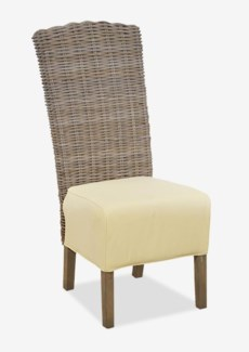 (LS) Seascape Driftwood Rattan Side Chair w/Upholstered