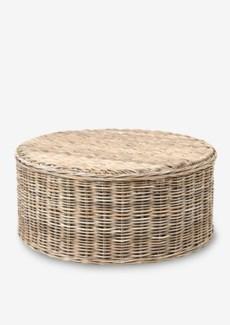 Seascape Driftwood Rattan Round Coffee Table (39X39X18)
