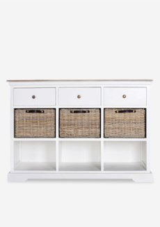 Simone Sideboard (3 Drawers+3 baskets+3 Shelves)-White (47X15X33.5)