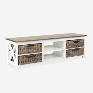 Simone TV Stand (2 Shelves+4 Baskets)-White (59X15X18)