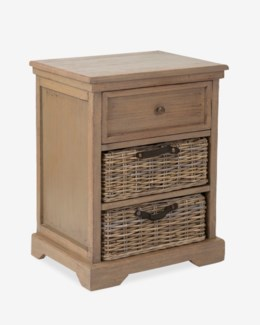 Simone Grey Side Table (1 drawer+2 baskets) (20X14X25.2)