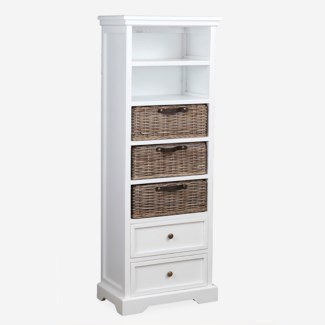 Simone Tall Bookcase (2 Drawers+3 Baskets+ 2 Shelves)-White (19X11X53)