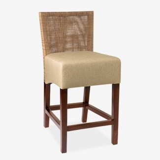 (SP) Karyn Counterstool-w/ Back-Seat Upholster (18x20x38) Seat Height 26""