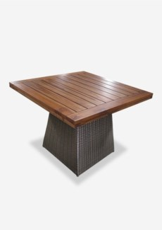 (LS) Pyramid Dining Table Teak Top -  Outdoor - (53x53x39) ( Base + Top + Box of Weights)