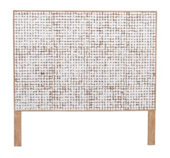 (LS) Tahoe Coco Headboard Queen-White Patina (63x2x60)
