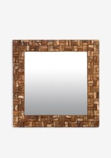 (LS) Wooden Bark Square Mirror (35X2X35)