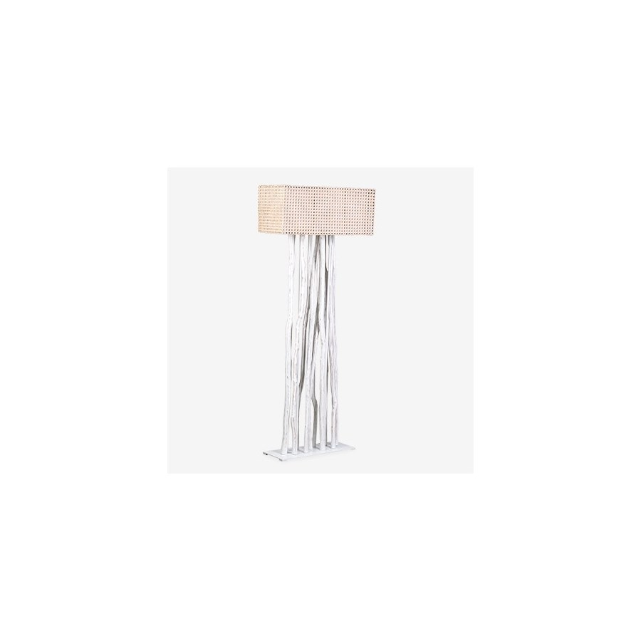 Jungle Floor Lamp White With Rectangular Shade (27X13X70) (2 boxes ...