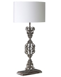 (LS) Tall Scroll Table Lamp W/Antique Scroll Iron Base and White Cotton Shade