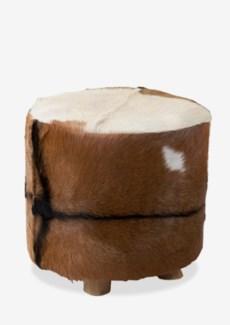 (SP) Safari Tall Ottoman - White/Brown (18.3X18.3X18)
