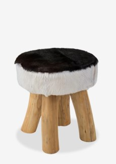 (SP) Safari Natural Hide Stool - Black/White (15x15x16)