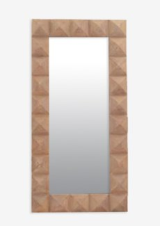 (SP) Pyramid Rectangle Wood Mirror-Balilook (39X4X79)