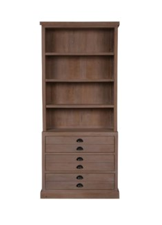 (LS) Edward Bookcase w/3 Drawers and 3 shelves (Top + Base)