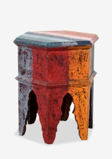 (LS) Fregata Hexagon Side Table with Storage - Aged Multicolor (24x24x25.5)