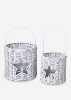 (LS) Rattan lantern with star accent set-2 (White) (16X16X12.5/13X13X13/10X10X7)