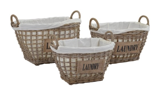 (LS) Storage Basket Set of 3 with Cotton Liner and Jute Text (24x18x14/20x16x12/18x13x10)